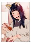 1girl animal_ears bangs black_hair blunt_bangs blurry blurry_background blush bowl breasts dress feeding food fox_ears fox_girl fox_tail fried_chicken highres incoming_food indoors japanese_clothes jorori kimono long_hair long_sleeves looking_at_viewer mole mole_under_eye mole_under_mouth nail_polish open_mouth original pink_nails pov purple_kimono rice rice_bowl room smile solo straight_hair table tail white_dress