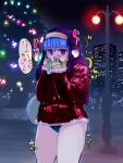 1girl @_@ alternate_costume anamochi bangs blue_buruma blue_hair blunt_bangs blush breath building buruma christmas christmas_tree cold commentary_request covering_mouth cowboy_shot eyebrows_visible_through_hair fur-trimmed_jacket fur-trimmed_sleeves fur_trim gloves habit hands_together hands_up have_to_pee highres holding jacket kula_diamond lamppost long_sleeves nervous night night_sky outdoors sack shiny shiny_hair sky skyscraper solo speech_bubble standing talking the_king_of_fighters translation_request tree trembling