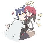 !! 3girls :3 absurdres animal_ears arknights blush_stickers closed_eyes exusiai_(arknights) girl_sandwich halo highres lappland_(arknights) long_hair long_sleeves multiple_girls profnote redhead sandwiched short_hair short_sleeves silver_hair sitting texas_(arknights) white_background wolf_ears yellow_eyes