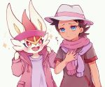 +_+ 1boy blue_eyes blush brown_hair cinderace closed_mouth clothed_pokemon commentary_request eyelashes fang gen_8_pokemon goh_(pokemon) hair_ornament hand_up hat headband looking_at_another male_focus open_mouth pokemon pokemon_(anime) pokemon_(creature) pokemon_swsh_(anime) purple_headband purple_scarf scarf seri_813 shirt short_sleeves sparkle sweatdrop tongue