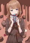 1girl bag bangs blush box bracelet brown_bag brown_hair candy center_frills chocolate closed_mouth commentary dress earrings envelope eyebrows_visible_through_hair food frills gift hands_up heart heart_print highres holding holding_gift hyuuga_azuri jewelry long_hair long_sleeves looking_at_viewer mismatched_nail_polish multicolored multicolored_nails original polka_dot polka_dot_dress polka_dot_skirt red_ribbon ribbon ring shoulder_bag sleeves_past_elbows smile solo symbol_commentary unmoving_pattern