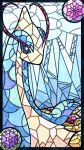 alternate_color antennae black_eyes blue_background blue_sclera border colored_sclera commentary_request flower gen_3_pokemon highres lotus milotic muguet no_humans pink_flower pokemon pokemon_(creature) purple_flower shiny_pokemon stained_glass