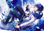 1boy anniversary blue_eyes blue_flower blue_hair blue_nails blue_pants blue_rose blue_scarf boots coat commentary flower from_above full_body holding holding_microphone holding_microphone_stand kaito kaito_(vocaloid3) knee_boots linch looking_at_viewer male_focus microphone microphone_stand nail_polish neon_trim pants petals rose scarf sideways sideways_glance smile solo vocaloid white_coat