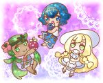 3girls alolan_form alolan_vulpix arm_up bare_shoulders blonde_hair blue_eyes blue_hair blue_pants blue_sailor_collar blue_swimsuit blush bounsweet braid chibi commentary_request dark_skin dress eyebrows_visible_through_hair flower full_body gen_7_pokemon green_eyes green_hair green_hairband hair_flower hair_ornament hairband happy hat holding holding_pokemon hug lana_(pokemon) lillie_(pokemon) long_hair looking_at_viewer mallow_(pokemon) muguet multiple_girls one-piece_swimsuit open_mouth outstretched_arm overalls pants pink_flower pink_shirt pokemon pokemon_(creature) pokemon_(game) pokemon_sm popplio purple_background sailor_collar shirt sleeveless sleeveless_dress sleeveless_shirt smile socks standing star_(symbol) sun_hat swimsuit swimsuit_under_clothes tied_hair twin_braids twintails very_long_hair white_dress white_headwear white_shirt yellow_eyes yellow_hairband