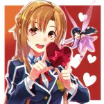 2girls :d asuna_(sao) bangs blue_jacket box braid breasts brown_eyes brown_hair chromatic_aberration collared_shirt commentary_request detached_sleeves dress eyebrows_behind_hair fairy fairy_wings gift gift_box hands_up heart heart-shaped_box highres is_ii jacket long_hair long_sleeves looking_at_viewer minigirl multiple_girls neck_ribbon open_mouth parted_bangs pink_dress pink_sleeves red_ribbon ribbon shirt small_breasts smile strapless strapless_dress sword_art_online titania_(sao) upper_body upper_teeth valentine very_long_hair white_shirt wings