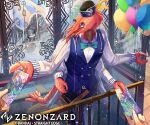 balloon belt blue_eyes blue_headwear blue_pants blue_vest bow bowtie company_name copyright_name hands hat_feather official_art pants phima pinstripe_pants railing shirt shrimp solo_focus standing ticket vest white_shirt window zenonzard