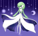 1girl alternate_eye_color commentary_request crescent_moon diamond_(shape) full_body gardevoir gen_3_pokemon gradient gradient_background green_hair hair_over_one_eye highres knees_together_feet_apart looking_at_viewer moon muguet no_mouth pokemon pokemon_(creature) purple_background ripples short_hair simple_background solo standing star_(symbol) sun violet_eyes walking