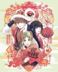 1boy 2girls :d absurdres bangs black_hair blunt_bangs brown_hair bull china_dress chinese_clothes chinese_new_year clouds double_bun dress hair_bun hair_ornament hanfu highres lipstick long_sleeves makeup multiple_girls mululeee open_mouth original simple_background smile upper_body