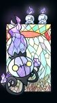 chandelure commentary_request fire full_body gen_5_pokemon highres litwick muguet no_humans open_mouth pokemon pokemon_(creature) smile stained_glass yellow_eyes