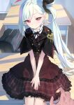 1girl blue_archive commentary_request dress hair_between_eyes highres long_hair looking_at_viewer mutsuki_(blue_archive) pov red_eyes side_ponytail sitting smile solo very_long_hair wasabi60 white_hair