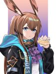 1girl absurdres amiya_(arknights) animal_ears arknights blue_eyes brown_hair closed_mouth doughnut eyebrows_visible_through_hair food highres holding holding_food hood hooded_jacket jacket long_hair looking_at_viewer multicolored multicolored_clothes multicolored_jacket ponytail rabbit_ears rhodes_island_logo rivet_vvrn simple_background solo