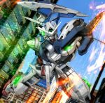 city exia glowing glowing_eyes gn_drive green_eyes gundam gundam_00 hiropon_(tasogare_no_puu) light_particles mecha no_humans photo_background shield sky solo sparks sword weapon