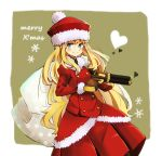 bag blonde_hair blue_eyes fur_trim gun gunner santa_costume sekaiju_no_meikyuu sekaiju_no_meikyuu_2 skirt weapon xharunoyasaix