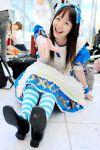 apron cosplay hair_bow kneehighs striped suzumiya_kirika tagme_character tagme_series