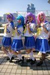 4girls blue_hair cosplay hair_bow hiiragi_kagami hiiragi_tsukasa izumi_konata kneesocks lucky_star multiple_girls pantyhose photo pink_hair purple_hair sailor_uniform school_uniform skirt takara_miyuki twintails