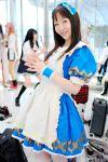 apron cosplay hair_bow kneehighs suzumiya_kirika tagme_character tagme_series