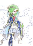 1girl bare_shoulders blue_dress blue_gloves blue_legwear blush bridal_gauntlets bubble closed_eyes clothed_pokemon clothing_cutout colored_skin commentary_request detached_sleeves dress gardevoir gen_3_pokemon gloves green_hair green_skin hair_over_one_eye hand_up heart highres muguet multicolored multicolored_skin open_mouth pokemon pokemon_(creature) short_hair sleeveless sleeveless_dress solo standing thigh-highs tiara turtleneck two-tone_skin white_background white_skin zettai_ryouiki