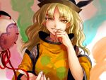 1girl bangs black_headwear blonde_hair breasts eyebrows_visible_through_hair fire grin hand_on_own_chin hat kuya_(hey36253625) long_hair looking_at_viewer matara_okina medium_breasts multicolored multicolored_background orange_eyes parted_bangs parted_lips simple_background smile solo tabard touhou upper_body wide_sleeves