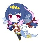 1girl armlet arms_up bangs black_legwear blue_hair blush bow chibi commentary_request crop_top detached_collar eyebrows_visible_through_hair fins fish_tail hair_bow leg_up long_hair looking_at_viewer midriff muguet multicolored_hair open_mouth original outstretched_arms pink_eyes pink_hair red_bow red_shirt red_skirt running see-through shark_girl shark_tail shirt simple_background single_thighhigh skirt sleeveless sleeveless_shirt solo tail thigh-highs tiara two-tone_hair white_background