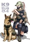 1girl assault_rifle bag camouflage camouflage_skirt dog german_shepherd gloves grey_eyes grey_hair gun headset highres k9 knee_pads kneeling load_bearing_vest looking_to_the_side m4_carbine military original ponytail pouch rifle shadow shoes shoulder_bag simple_background skirt sneakers solo suppressor toshi_(pixiv6514) weapon white_background