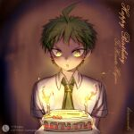 1boy :o ahoge androgynous arms_at_sides bangs birthday birthday_cake brown_hair cake candle collared_shirt commentary_request cross_neko danganronpa_(series) danganronpa_2:_goodbye_despair dated english_text food fruit gradient gradient_background happy_birthday hinata_hajime looking_at_viewer male_focus necktie open_mouth shirt short_hair short_sleeves solo strawberry upper_body white_shirt