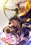 2boys black_hair blue_eyes bow_(weapon) claude_von_riegan earrings facial_hair fire_emblem fire_emblem:_path_of_radiance fire_emblem:_radiant_dawn fire_emblem:_three_houses fire_emblem_heroes gloves highres holding holding_weapon jewelry looking_at_viewer looking_away multiple_boys ponytail redhead shinon_(fire_emblem) wada_sachiko weapon