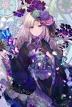1girl black_gloves black_kimono bow bug butterfly colorful corset fan floral_print flower furisode gloves hair_flower hair_ornament highres insect japanese_clothes kazu_(muchuukai) kimono light_particles long_hair looking_at_viewer original paper_fan petals pink_eyes pink_hair smile solo wavy_hair
