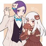 1boy 1girl alternate_costume bow bowtie do_m_kaeru fire_emblem fire_emblem:_three_houses holding holding_stuffed_toy long_hair long_sleeves lorenz_hellman_gloucester lysithea_von_ordelia open_mouth pink_eyes purple_hair simple_background stuffed_animal stuffed_toy teddy_bear twitter_username upper_body violet_eyes white_hair