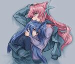 2girls blue_eyes blue_hair blue_shirt blush breast_press closed_mouth crying crying_with_eyes_open floating_hair green_eyes grey_background grey_jacket highres jacket kazanari_tsubasa long_hair long_sleeves maria_cadenzavna_eve multiple_girls open_clothes open_jacket parted_lips pink_hair purple_shirt senki_zesshou_symphogear shirt side_ponytail tears topturtling upper_body very_long_hair yuri
