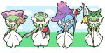 4girls alternate_color animal_ears arm_up blue_hair blue_sky blush blush_stickers border cat_ears chibi clouds commentary_request day english_commentary fake_animal_ears final_fantasy final_fantasy_xiv flower full_body gardevoir gen_3_pokemon gen_4_pokemon grass green_hair hand_on_hip hands_up happy hat highres holding holding_shield holding_spear holding_staff holding_sword holding_weapon legendary_pokemon looking_at_viewer mismagius mixed-language_commentary muguet multiple_girls open_mouth orange_eyes outdoors partial_commentary pink_flower pink_headwear pokemon pokemon_(creature) polearm purple_headwear rayquaza red_eyes shield shiny_pokemon short_hair skitty sky smile spear staff standing sword tiara weapon white_border witch_hat