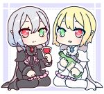2girls alcohol black_capelet black_dress black_footwear black_legwear blonde_hair blush boots border bottle capelet chain chibi closed_mouth commentary_request crystal cup dress drinking_glass frilled_dress frills full_body green_eyes hand_up heart heart-shaped_pupils heart_in_eye heterochromia holding iris_blanche iris_noire light_blush looking_at_viewer muguet multiple_girls open_mouth outline pantyhose red_eyes rune_factory rune_factory_frontier shiny shiny_hair siblings silver_hair sisters sitting smile symbol-shaped_pupils symbol_in_eye thigh-highs white_capelet white_dress white_footwear white_legwear white_outline wine wine_bottle wine_glass