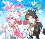 2boys ahoge alternate_costume bangs black_jacket brown_eyes brown_hair clouds commentary_request cosplay couple danganronpa_(series) danganronpa_2:_goodbye_despair day food hand_up heart highres hinata_hajime holding hood ice_cream ice_cream_cone jacket komaeda_nagito looking_at_viewer male_focus messy_hair monokuma monokuma_(cosplay) monomi_(danganronpa) monomi_(danganronpa)_(cosplay) multicolored multicolored_clothes multicolored_jacket multiple_boys pink_jacket print_shirt shirt short_hair tongue tongue_out two-tone_jacket upper_body white_hair white_jacket white_nails white_shirt yomu_(dangan_yomu)