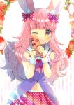 1girl ;3 animal_ear_fluff animal_ears bangs bare_shoulders blush bow box brown_eyes closed_mouth commentary_request dress eyebrows_visible_through_hair flower food fruit gift gift_box hair_bow hands_up holding holding_gift indie_virtual_youtuber kouu_hiyoyo long_hair looking_at_viewer magical_momoka navel one_eye_closed pink_hair plaid pleated_skirt polka_dot polka_dot_bow polka_dot_skirt purple_dress rabbit_ears red_bow red_skirt sailor_collar skirt sleeveless sleeveless_dress solo strawberry strawberry_blossoms striped striped_background vertical_stripes very_long_hair virtual_youtuber white_background white_flower white_sailor_collar wrist_cuffs