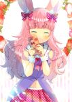 1girl :3 animal_ear_fluff animal_ears bangs bare_shoulders blush bow box closed_eyes closed_mouth dress eyebrows_visible_through_hair facing_viewer flower food fruit gift gift_box hair_bow hands_up holding holding_gift indie_virtual_youtuber kouu_hiyoyo long_hair magical_momoka navel pink_hair plaid pleated_skirt polka_dot polka_dot_bow polka_dot_skirt purple_dress rabbit_ears red_bow red_skirt sailor_collar skirt sleeveless sleeveless_dress solo strawberry strawberry_blossoms striped striped_background vertical_stripes very_long_hair virtual_youtuber white_background white_flower white_sailor_collar wrist_cuffs