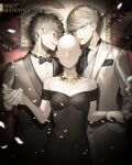 2boys absurdres amamiya_ren bangs black_dress black_eyes black_hair black_jacket black_neckwear bow bowtie btmr_game dress formal gloves hair_between_eyes highres jacket long_sleeves male_focus mannequin multiple_boys narukami_yuu necktie persona persona_4 persona_5 silver_eyes silver_hair white_gloves white_jacket