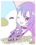 1girl artist_name bangs blush brown_eyes english_commentary fang hair_between_eyes happy_birthday highres hololive hololive_indonesia jacket long_hair moona_hoshinova off_shoulder one_eye_closed open_mouth pavolia_reine_(artist) purple_hair shoulders solo star_(symbol) white_jacket