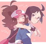1boy 1girl ahoge antenna_hair baseball_cap blush brown_hair cheren_(pokemon) closed_eyes closed_mouth commentary_request eyelashes glasses happy hat heart high_ponytail highres hilda_(pokemon) hug hug_from_behind jacket long_hair looking_at_viewer ohds101 open_mouth outline pink_bag pokemon pokemon_(game) pokemon_bw shirt sidelocks smile tongue two-tone_headwear vest wristband |d