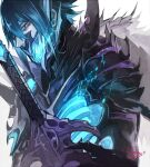 1boy armor black_armor black_hair blue_fire blue_hair bone covered_mouth fire fire_emblem fire_emblem_heroes gradient_hair hair_between_eyes horned_mask lif_(fire_emblem) looking_at_viewer male_focus mask masked mouth_mask multicolored_hair nijihayashi pale_skin red_eyes simple_background skeleton solo white_background
