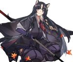 1girl animal_ears arknights bangs beads black_hair black_kimono blush breasts closed_mouth commentary cowboy_shot dog_ears elbow_gloves eyebrows_visible_through_hair facial_mark fingerless_gloves floating_hair forehead_mark gloves highres holding holding_weapon infection_monitor_(arknights) japanese_clothes kimono leaf long_hair looking_at_viewer medium_breasts pants parted_bangs polearm prayer_beads purple_gloves purple_pants saga_(arknights) simple_background smile solo straight_hair violet_eyes weapon white_background yurooe
