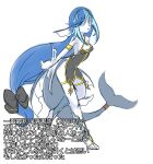 1girl armlet bangs bare_shoulders black_bow black_dress blue_eyes blue_hair blue_legwear bow breasts china_dress chinese_clothes cleavage_cutout closed_mouth clothing_cutout commentary_request dress eyebrows_visible_through_hair fins fish_tail hair_bow highres long_hair looking_at_viewer muguet multicolored_hair original see-through shark_girl shark_tail side_slit simple_background small_breasts solo spaghetti_strap tail text_focus tiara tied_hair translation_request two-tone_hair very_long_hair white_background
