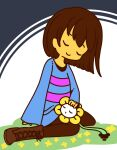 1other androgynous bangs blue_shirt boots brown_footwear brown_hair brown_pants closed_eyes closed_mouth colored_skin commentary_request cross-laced_footwear eyebrows_visible_through_hair flower flowey_(undertale) frisk_(undertale) full_body grass hand_on_another's_head happy lap_pillow muguet pants shirt short_hair sitting sleeping sleeves_past_wrists smile striped striped_shirt two-tone_background undertale wariza yellow_flower yellow_skin
