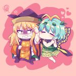 2girls =_= anger_vein antennae bangs barefoot blonde_hair blue_hair blush boots butterfly_wings caramell0501 chibi constellation_print detached_sleeves dress eternity_larva fairy_wings green_dress green_skirt hat heart highres leaf leaf_on_head leaf_print long_sleeves matara_okina multiple_girls pink_background pouty_lips shaded_face shirt simple_background skirt squiggle sun_print sweatdrop symbol-only_commentary tabard touhou white_shirt wide_sleeves wings yellow_eyes