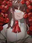 1girl ascot bangs blunt_bangs breasts brown_hair collarbone commentary_request copyright_request flower grey_shirt long_hair looking_at_viewer niwatori_panda plant red_eyes red_flower red_neckwear red_rose rose shirt solo thorns upper_body