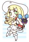 1girl bag bare_shoulders blonde_hair blue_background border braid chibi commentary_request cosmog dress duffel_bag full_body gen_7_pokemon green_eyes hand_up hat heart heart_in_eye kneehighs knees_together_feet_apart leg_up legendary_pokemon lillie_(pokemon) long_hair looking_to_the_side muguet open_mouth poke_ball_theme pokemon pokemon_(creature) pokemon_(game) pokemon_sm shiny shiny_hair simple_background sleeveless sleeveless_dress solo_focus standing standing_on_one_leg striped striped_background sun_hat symbol_in_eye tied_hair twin_braids white_border white_dress white_headwear white_legwear