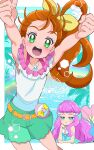 2girls :d arms_up bare_shoulders blue_eyes blue_sky blush bow brown_hair chibi cowboy_shot day green_eyes green_shorts hair_bow hair_strand head_rest highres jewelry juugoya_neko laura_(precure) long_hair looking_at_viewer lying mermaid monster_girl multiple_girls natsumi_manatsu necklace ocean on_stomach open_mouth outdoors palm_tree pearl_necklace pink_hair precure rainbow shorts side_ponytail sky sleeveless smile tree tropical-rouge!_precure yellow_bow