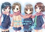4girls :d black_hair black_legwear blush braid brown_eyes brown_hair character_request child commentary copyright_request eyebrows_visible_through_hair green_eyes grin holding_hands jacket long_hair looking_at_viewer multiple_girls open_mouth original pantyhose pink_scarf plaid plaid_scarf pleated_skirt ponytail scarf shared_scarf skirt smile snowflake_background thigh-highs twin_braids twintails violet_eyes yukino_minato