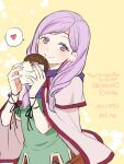 1girl bangs cape circlet doughnut fire_emblem fire_emblem:_path_of_radiance fire_emblem:_radiant_dawn food heart highres holding holding_food ilyana_(fire_emblem) laces long_hair looking_at_viewer nagao_uka purple_hair simple_background smile violet_eyes yellow_background