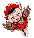 1girl :d ahoge brown_footwear brown_gloves ddari dot_nose from_above full_body genshin_impact gloves hands_up hat hat_feather highres jacket klee_(genshin_impact) long_sleeves looking_at_viewer open_mouth outstretched_arm peaked_cap pointy_ears red_eyes red_headwear red_jacket round_teeth shoes simple_background smile solo teeth upper_teeth white_background white_hair