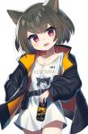 1girl :d animal_ears belt belt_pouch breasts brown_hair can commission energy_drink hand_in_pocket highres jacket long_sleeves looking_at_viewer no_pants open_mouth original pouch red_eyes shirt short_hair skeb_commission small_breasts smile soda_can wagashi928