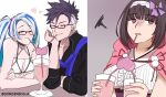 1boy 2girls bangs bikini black_hair blank_eyes blue_hair blue_scarf breasts brown_background brown_hair brynhildr_(fate) brynhildr_(swimsuit_berserker)_(fate) choker cloak closed_eyes couple cup drink drinking drinking_straw english_commentary eyebrows_visible_through_hair fate/grand_order fate_(series) glass glasses gorgenzolla gradient gradient_background hair_ribbon hairband heart highres holding holding_cup jitome multicolored_hair multiple_girls open_mouth osakabe-hime_(fate) pink_cloak purple_ribbon purple_scrunchie ribbon scarf scrunchie semi-rimless_eyewear side_ponytail sigurd_(fate) simple_background smile swimsuit twitter_username two-tone_hair white_background white_bikini white_hair